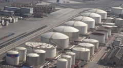 4K Aerial view oil container storage port industrial gas tank business industry  - stock footage