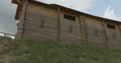 Wall of Ancient City, Embrasures, Tower, Tracking Right, Museum at Open Air, Stock Footage