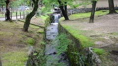 Canal inside garden of Todai-ji Temple in Nara, Japan Stock Footage