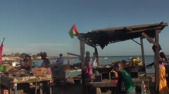 Small restaurant of fish on the beach of Dakar Stock Footage