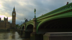 Westminster and Thames at dusk Stock Footage