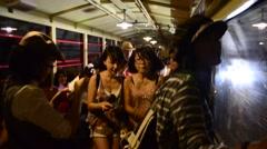Traveler on Sagano Scenic Railway in tunnel at Arashiyama in Kyoto, Japan Stock Footage
