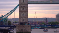 Tower Bridge, boats and traffic Stock Footage