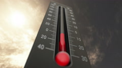 4K Thermometer Fahrenheit Celsius Heat 3 Stock Footage