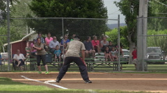 Softball Game co-ed small rural community 4K Stock Footage