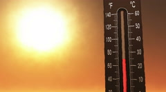 4K Thermometer Fahrenheit Celsius Heat 5 Stock Footage