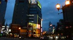 Traffic road at Dotonbori in nigth time in Osaka, Japan Stock Footage