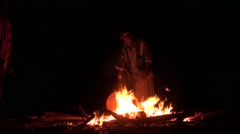 Night fire dance and music for the young Diola initiated it casamance senegal - stock footage