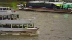 Ship Erasmus on river Thames Stock Footage