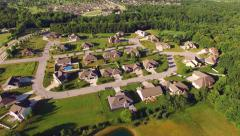 Beautiful Affluent Neighborhood in Beautiful Morning Light, Aerial View Stock Footage
