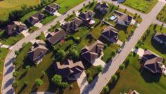 Idyllic Affluent Neighborhood in Beautiful Morning Light, Aerial View Stock Footage