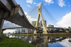 Octavio Frias de Oliveira Bridge, or Ponte Estaiada, in Sao Paulo, Brazil Stock Photos