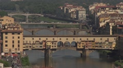 Ponte Vecchio, overview from Piazalle Michelangelo Stock Footage