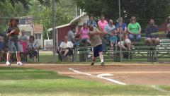 Softball game men women rural community 4K - stock footage
