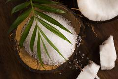 coco bath. coconut with sea salt - stock photo