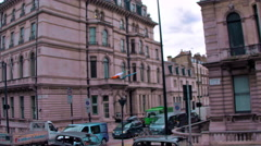 Traveling view of buildings in London, England. Stock Footage