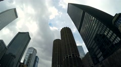 Chicago skyscrapers from the Architecture Foundation River Cruise. Stock Footage