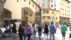 Ponte Vecchio, people walking on the bridge Stock Footage