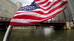 USA flag on the back deck of Chicago's Leading Lady Cruises. Stock Footage