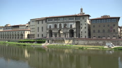 Pan shot from Museum Galileo to Ponte Vecchio - stock footage