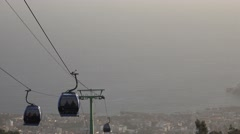 4k Cable Car gondolas closeup to ocean side Madeira Stock Footage