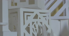 White Volumetric Architectural Layouts Products Paper Forms Cubes Pyramid - stock footage