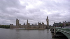 Stock Video Footage of LONDON - OCTOBER 11: Right panning view of unidentified people on Westminster