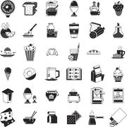 Breakfast food black icons vector collection Stock Illustration