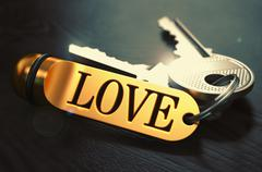 Love - Bunch of Keys with Text on Golden Keychain - stock illustration