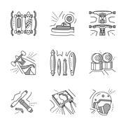 Flat line vector icons for extreme sport - stock illustration