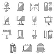 Flat line vector icons for outdoor advertising - stock illustration