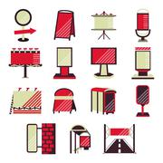 Red flat vector icons for outdoor advertising - stock illustration