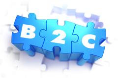 B2C - White Word on Blue Puzzles - stock illustration