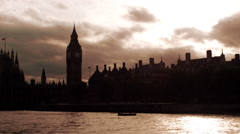 Westminster palace in the evening in London, England. Stock Footage