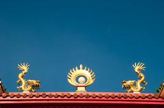 Equipment on the roof of a shrine - stock photo