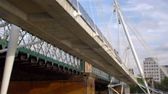 Under Hungerford bridge in London, England. Stock Footage