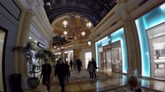 Passage through the boutiques mall. Bellagio hotel & casino. Las Vegas Stock Footage