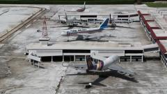 Models of airport and passenger planes in Mini Siam park in Pattaya, Thailand Stock Footage