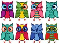 Stock Illustration of Set of eight amusing motley owls