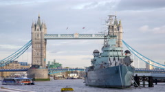 Ship with Tower Bridge in background in London, England. - stock footage