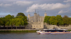 Ship passes in front of tower of London in London, England. Stock Footage