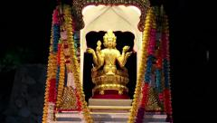 Golden statue of Phra Phrom or four-faced Buddha, Pattaya, Thailand Stock Footage