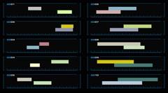Ten-panel animated visual display Stock Footage