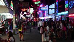 Walking Street is red-light district with many restaurants, go-go bars, brothels Stock Footage