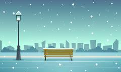 Winter City Park - stock illustration