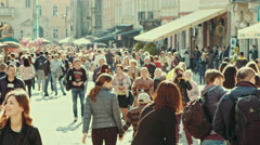 Crowd of people in streets of Lviv Stock Footage
