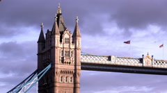 Close up low angle view of the top of one of the towers on Tower Bridge in - stock footage