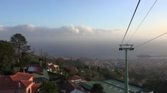 4k Cable Car tour mountain village roofs Madeira Stock Footage