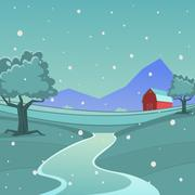 Winter Farm Landscape - stock illustration
