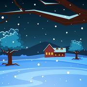 Night Winter Landscape - stock illustration